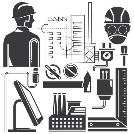 tools, engineering set, manufacturing Illustration