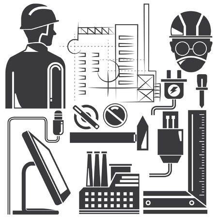 tools, engineering set, manufacturing Vector