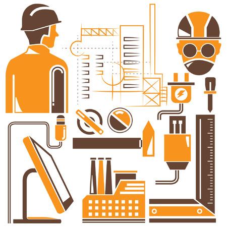 tools, engineering set, orange theme Vector