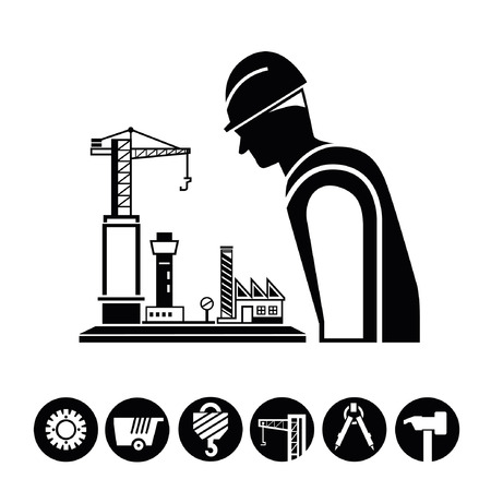 superintendent: project management, construction icons, buttons Illustration