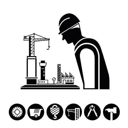 construction management: project management, construction icons, buttons Illustration