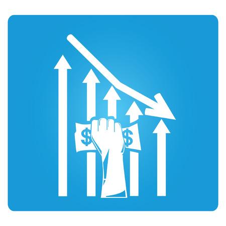 wirtschaftskrise: abnehm Geld Graph, Wirtschaftskrise