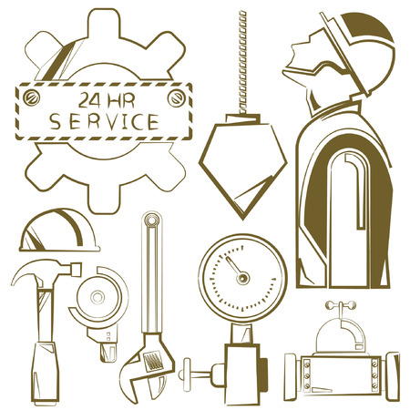engineering icons, mechanical tools, sketch line Vector