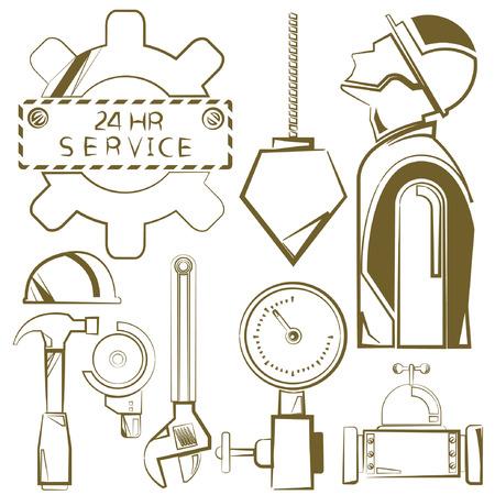 herramientas de mecánica: iconos de ingeniería, herramientas mecánicas, línea de boceto