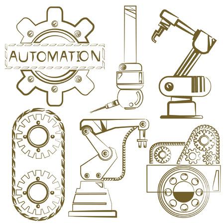 mano robotica: conjunto robótico, iconos de ingeniería, herramientas mecánicas, línea de boceto Vectores