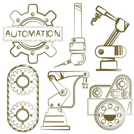 robot arm: robotic set, engineering icons, mechanical tools, sketch line