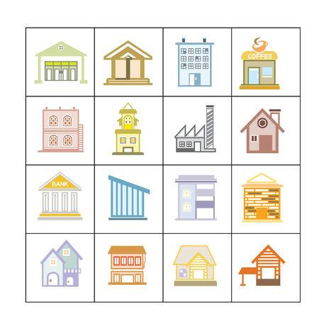 formatting: cute building icons set, map elements