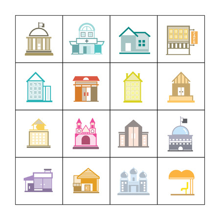 cute building icons set, map elements Vector