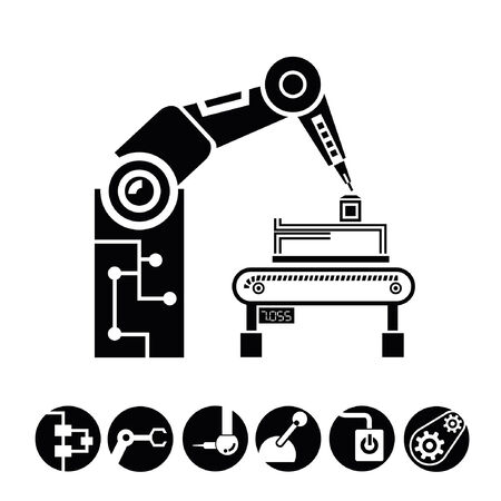 robotic arm, manufacturing icons, buttons Vector