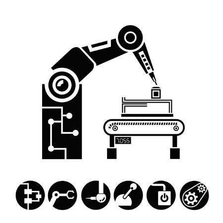 bras robotisé, icônes de fabrication, boutons