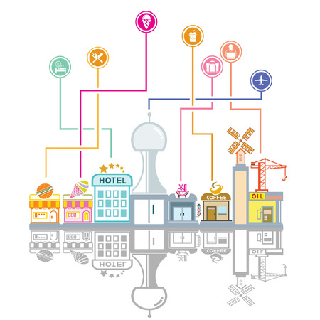 city skyline and social network background Vector