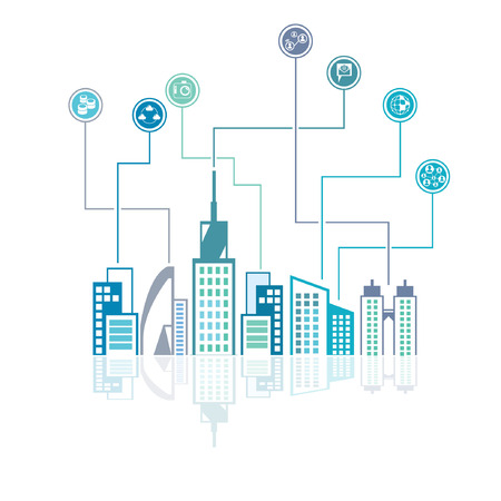 city skyline and social network background