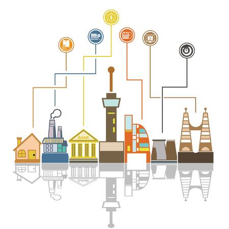 skyline van de stad en het sociale netwerk achtergrond