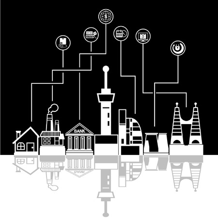 panoramic business: social network city skyline in black background, community and downtown
