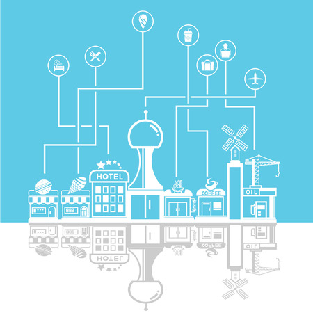 social network city skyline in blue background, community and downtown Vector