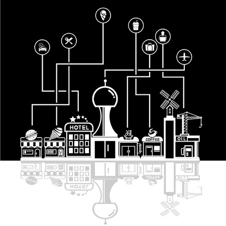 shop local: social network city skyline in black background, community and downtown
