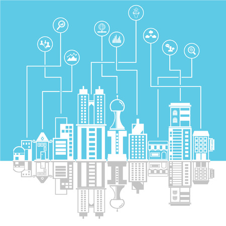 burg: city skyline background, data and network concept