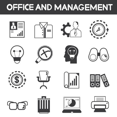 office and management icons Vector