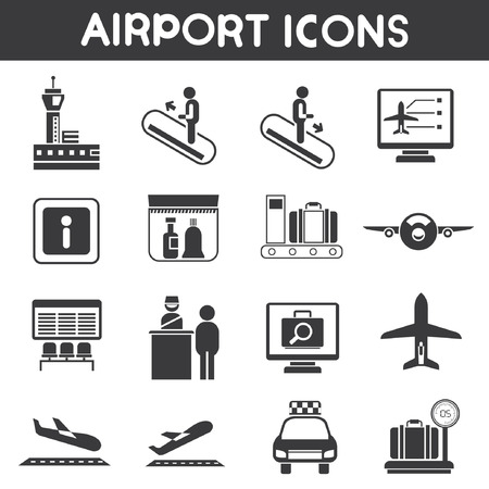 search button: airport icons set