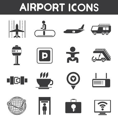 airport icons set Vektorové ilustrace