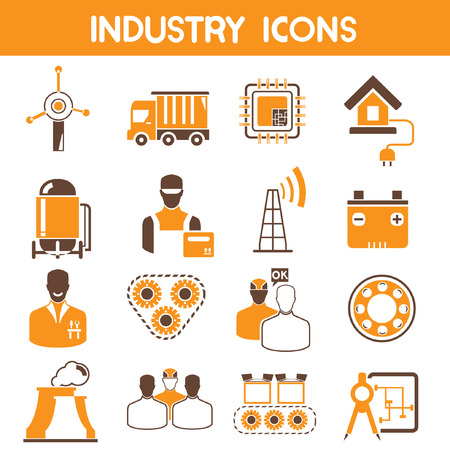 industry icons, orange theme color Vector