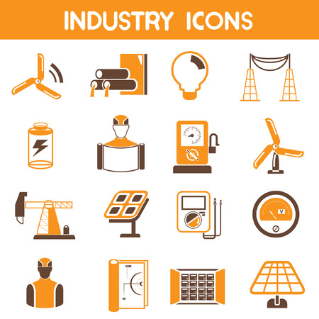 refinery engineer: industry icons, orange theme color Illustration