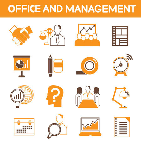 office and management icons, orange theme color Vector