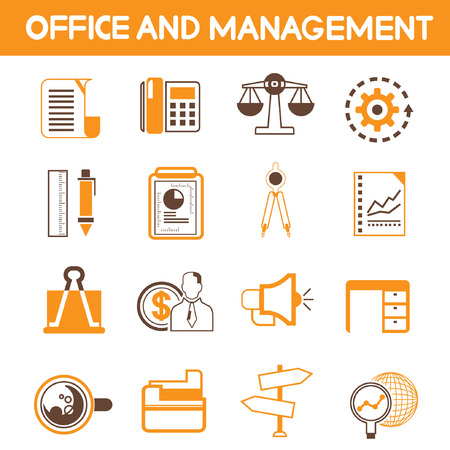 office and management icons, orange color theme Vector