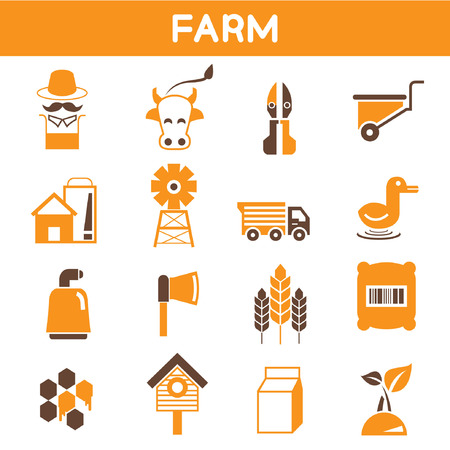 bullock: farm icons, orange color theme Illustration
