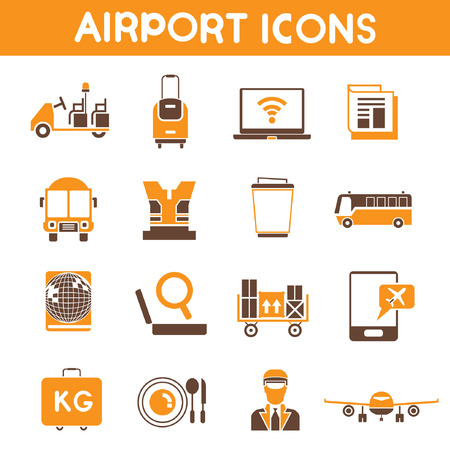 portage: airport icons, orange color theme Illustration