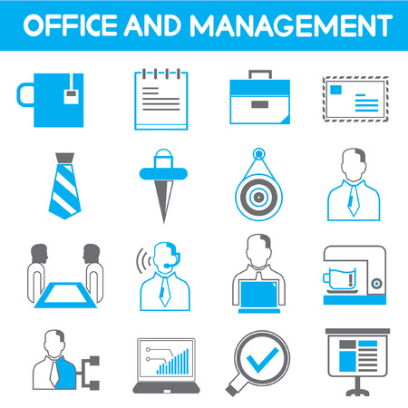 dispensation: office and management icons, blue theme color Illustration
