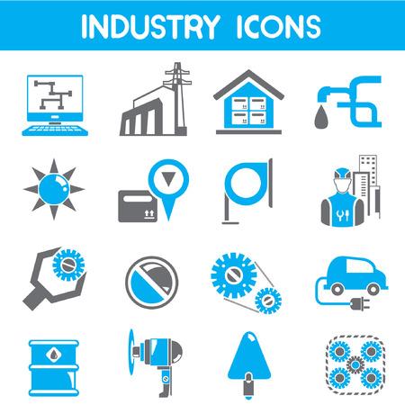 llave de sol: iconos de la industria, el color azul tema
