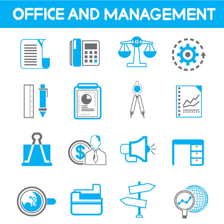 office and management icons, blue theme color Vector