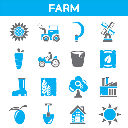 agriculture industry: farm and agriculture icons, blue theme color