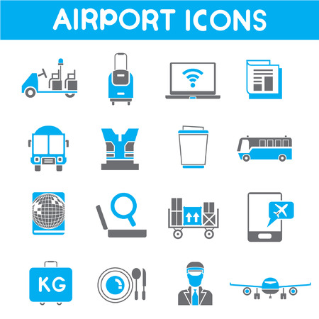 check in: airport icons, blue theme color Illustration