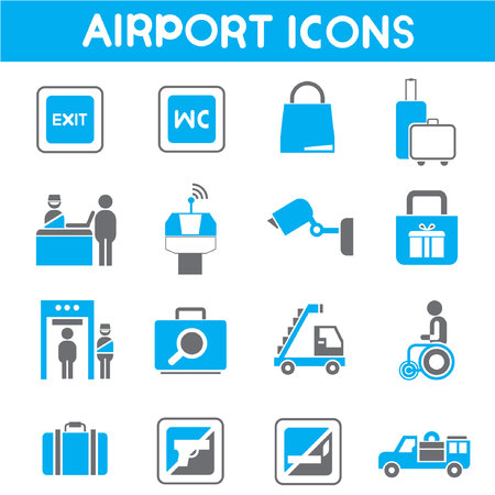 portage: airport icons, blue theme color Illustration