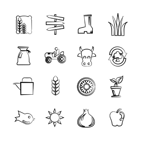 bullock: sketch agriculture icons