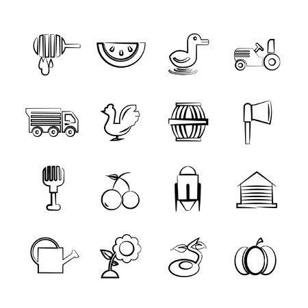 sketch agriculture icons Vector