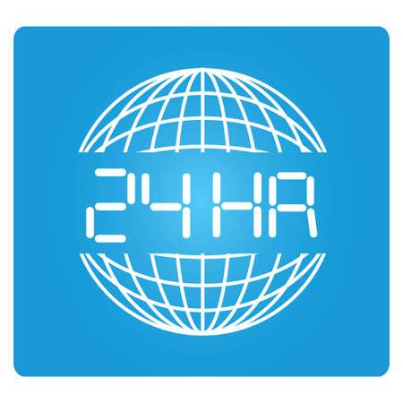 24 hr: global and time service Illustration