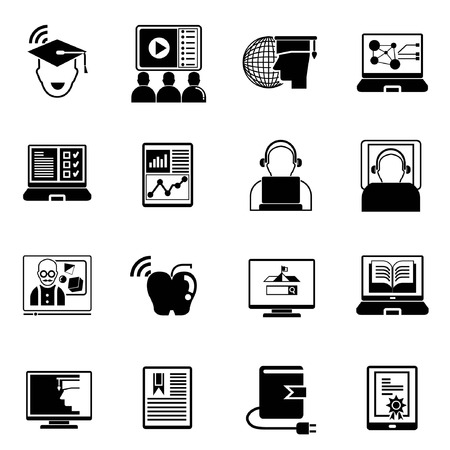 apple computer: online education icons