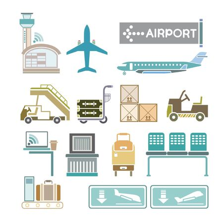aircraft take off: airport icons Illustration