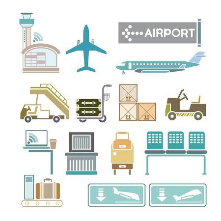 plane landing: airport icons Illustration