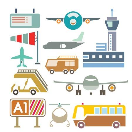 luchthaven van iconen Stock Illustratie