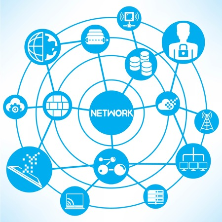ethernet: internet and network, blue connecting diagram