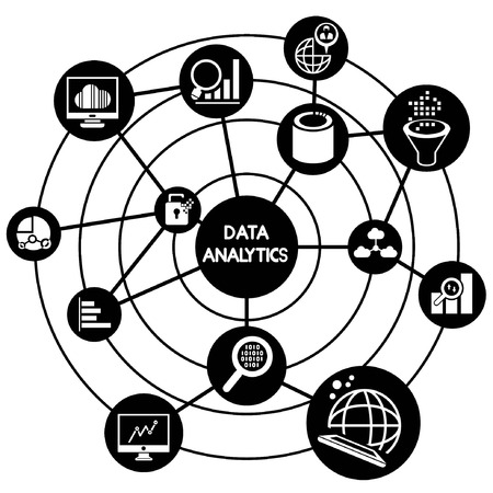 data analytics connecting diagram Vector