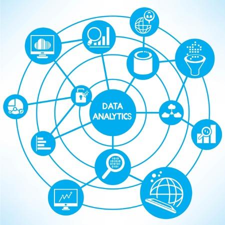data analytics, blue connecting diagram Vector