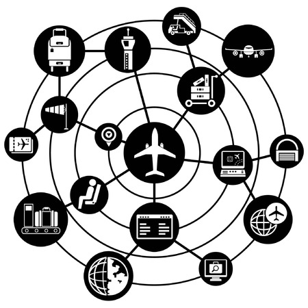airport security: airport network background, connecting diagram Illustration