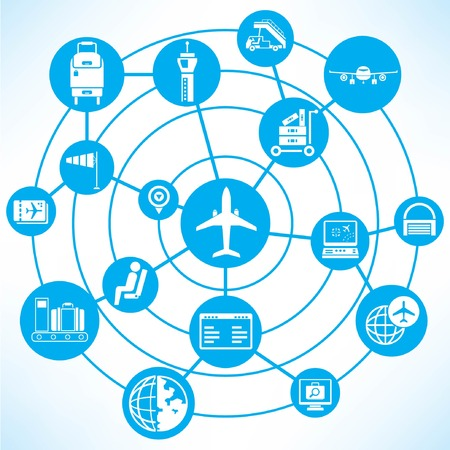 airport, blue connecting diagram Vector