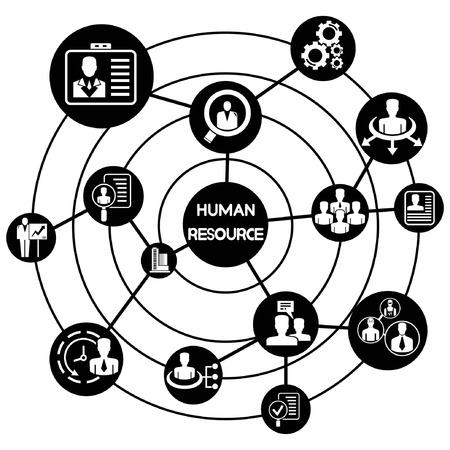 human resource network background, connecting diagram