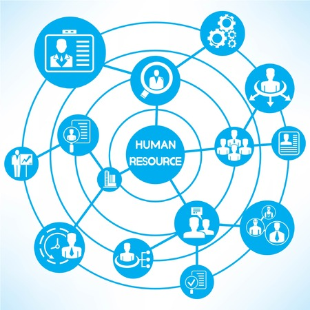 human resource, blue connecting diagram Vector